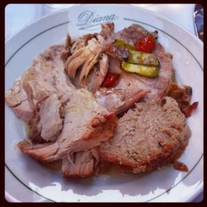 Fantastiskt kött på restaurang Diana i Bologna